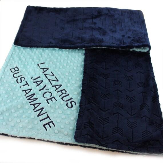 Personalized Baby Blanket For Boy- Minky Blanket Embossed Arrow Blanket - Saltwater Navy Arrow Nursery / Baby Shower Gift / Name Blanket