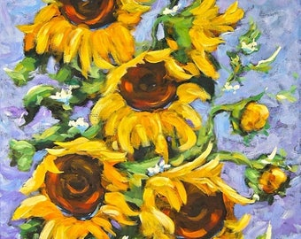 On Sale Bouquet Del Sol Sunflowers - Acrylic Painting by Prankearts