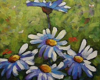On Sale Top Of The Bunch Daisies  - Small Original Acrylic Painting - Floral Scene- Created by Prankearts