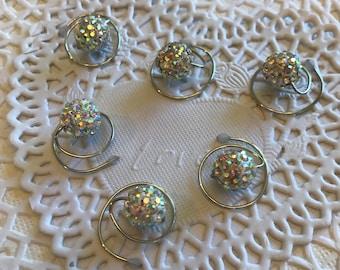 Disco Ball Hair Swirls,Spins,Spirals, Twist in Clear AB Sparkles Bridal Party Hair Debutante Ball Ballroom Dancers