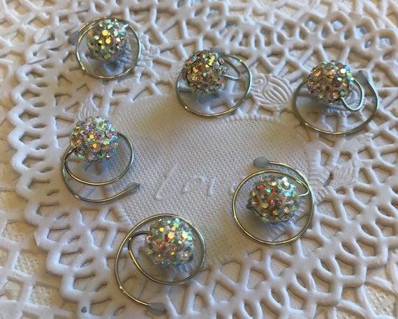 Disco Ball Hair Swirls-Spins-Spirals-Twist-Clear AB Sparkle-Bridal Party Hair-Debutante Ball-Ballroom Dancers