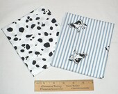 Reserved for Kirsten: Cow Print fabric, FQ,  Black, White, Cow spots, cotton, cows, Quilting