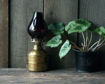 Non Working Vintage Brass And Glass Lantern Gold Color and  Plum Glass Shade Vintage From Nowvintage on Etsy