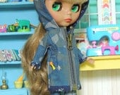 Army Blue Camouflage Camo Hooded Jacket Coat for Blythe Doll