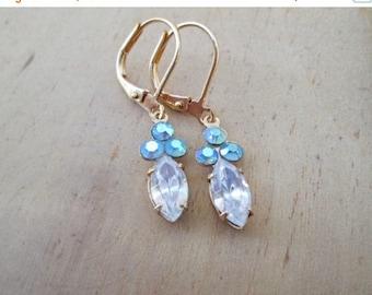 XMAS in JULY SALE Mermaid-Vintage Petite Earrings Clear Crsystal Sea Foam Gold Tone