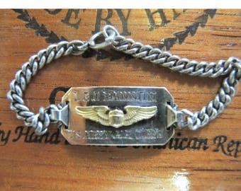 Sterling Silver World War II Sweetheart Bracelet - U S Army Air Corps - 10K Gold Wings