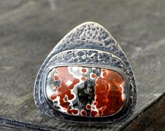 ON SALE Fire jasper ring, metalwork sterling silver ring, rustic gemstone ring, size 7 - Ragnarok