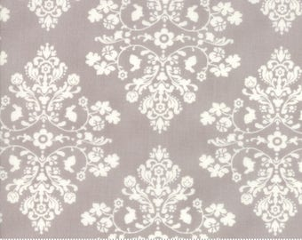 Lily and Will Revisited by Bunny Hill for Moda  Cottontail damask in Grey choose your cut  YES! Continuous fabric cuts, combined shipping