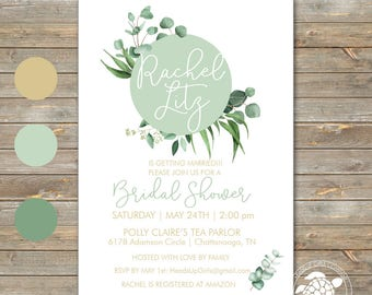 Personalized Bridal Shower Invitations and Envelopes with Eucalyptus Leaves in Sage Green and Gold NVB8009