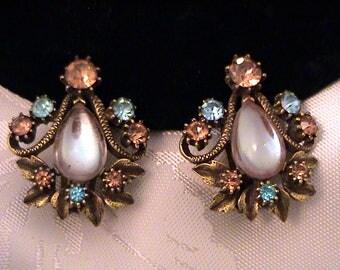 Vintage FLORENZA Saphiret Earrings, Unsigned