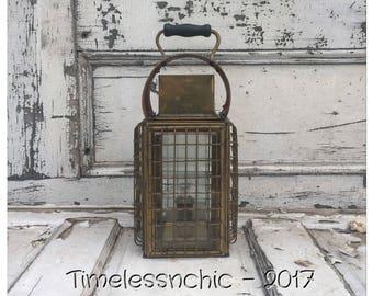 Brass Oil Lantern - Brass Oil Lamp - Vintage Brass Lantern - Ships Lantern - Caged Lighting - Vintage Oil Lamp - Vintage Oil Lantern