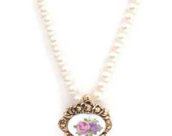 Simulated Pearl Necklace Rosebud Enhancer 19 Inch Necklace Signed Avon Vintage