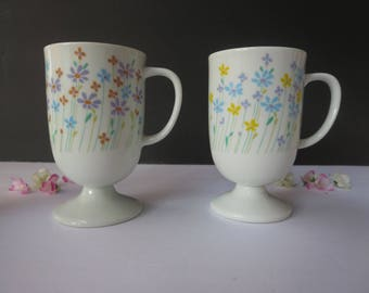 Vintage Footed Mugs Cups - Two White Porcelain Floral Footed Mugs With Handle - Made in Japan