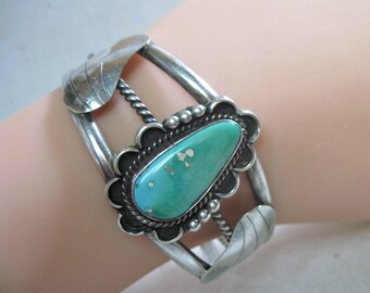 Vintage Sterling Silver Turquoise Cuff Bracelet - Southwestern - Boho - For Small Wrist