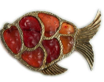 1970s Gold Plate Orange Terricota Red Resin Stained Glass Style Figural Fish Vintage Pin Brooch