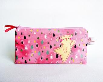 Pencil case, pencil pouch, school pouch, school purse, school supplies, cat pencil case, pencil bag, kids pencil case, cute pencil case