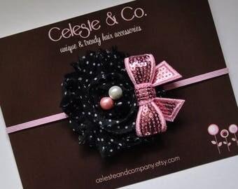 sale Black and Pink Baby Headband Flower with Sequin Bow Newborn Headband Infant Headband Toddler Headband Stretch Elastic Headband Photo Pr