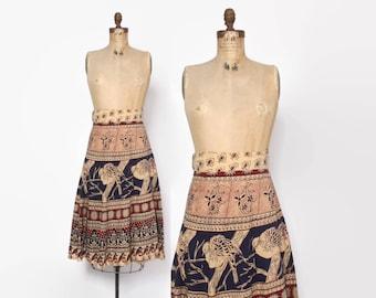 Vintage 70s Indian SKIRT / 1970s Ethnic India Cotton Batik High Waisted Bohemian BIRDS Print Wrap Midi