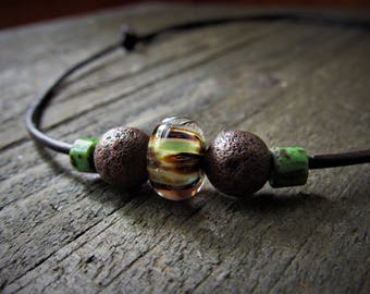 Men's Adjustable Leather Beaded Choker - Camo Lampwork Focal Bead - Father's Day Gifts - Graduation gifts