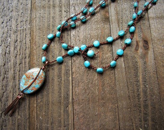 Turquoise and Copper Focal Pendant on Beaded Hand Crochet Neck Cord.  Layering Necklace - BOHO - Gypsy - Hippie - Gifts for her