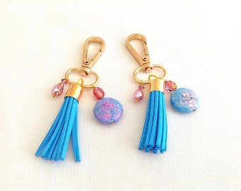 boho tassel purse charm, turquoise blue tassel bag charm, clip on bag charm, keychain tassel, lanyard jewels