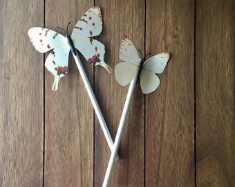 White glitter butterfly pencil