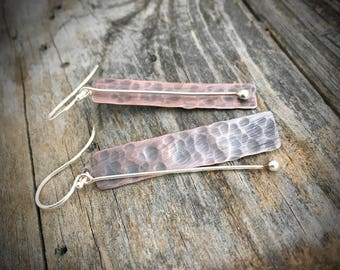 Sterling Silver and Copper Handmade Earrings  By Joy Kruse Wild Prairie Silver 'Prairie Sticks'