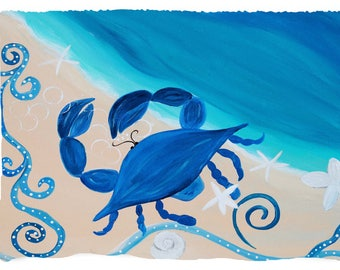 Coastal blue crab on sandy coastal beach throw or picnic blanket from my original art.