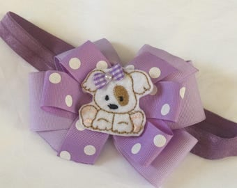 Puppy baby headband girls boutique  hair bow in lavender stretchy  headband