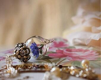 ON SALE Lavender Purple Rose Flower Glass Terrarium Necklace by Woodland Belle