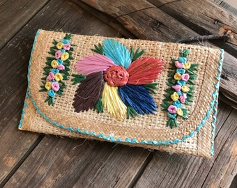Vintage Colorful Floral Raffia Straw Summer Clutch Bag