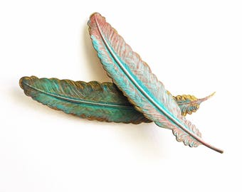 Verdigris Feather Barrette