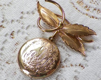 Lovely Vintage Danecraft 12 K Gold Filled Leaves Brooch / Pin / Broach with Flower / Floral Etched Dangling Round Two Section Locket