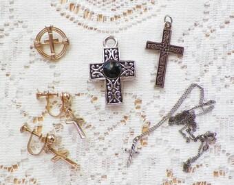 Destash Lot Cross / Crosses, Cross Jewelry, Pendant / Pendants, Screw Back Earrings, Small Brooch / Pin, Tiny Sterling Silver Cross Necklace