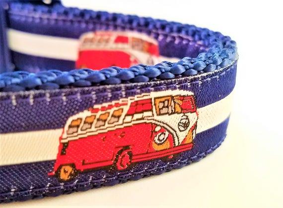 Road Trip - Dog Collar, Handmade, Camping, Adjustable, Martingale, RV, VW, Volkswagen Camper Van, Dogs, Summer, Eurovan, Westafalia