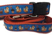 Dog Collar and Leash, Fox, 4ft leash, 1 inch wide, adjustable, quick release, metal buckle, chain, martingale, hybrid, nylon