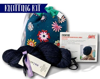 "Evening Primrose - A ""Just Add Needles"" Knitting Kit- Limited Edition Project Bag, Yarn & Hat Pattern"