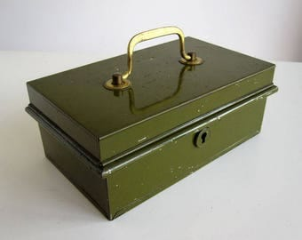 Vintage metal cash box with insert / petty cash, money box with brass handle