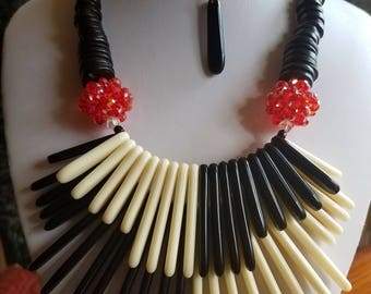 Black - White - Red Spike Necklace
