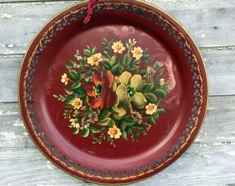 """Antique HUGE Round 19.5"""" Hand painted Toleware Tray Burgundy Roses Flowers"""