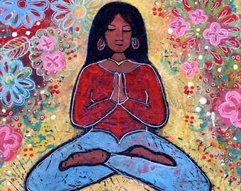 Original Acrylic Yoga Painting Titled Black Haired Yoga Girl