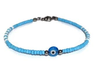 Evil eye beaded bracelet - Blue eye - stainless steel - Stainless - Greek jewelry - seed beads bracelet - Gift for women