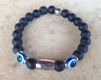 Eye of Horus - Εvil eye bracelet - onyx beads - protection - Egyptian jewelry - Stainless steel - Gift For men
