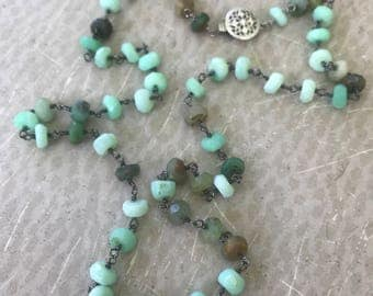 Green Opal Necklace - Faceted and Wire-Wrapped with Oxidized Sterling Silver - Rosary Style - NEW LIFE Handmade by Splendor Vendor