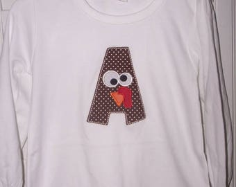 ON SALE Personalized Turkey thanksgiving Initial Shirt
