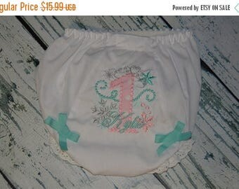 ON SALE Personalized Winter Princess Birthday Bloomers Snowflake Monogram diaper Cover