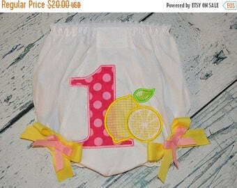 ON SALE Birthday Pink Lemonade Bloomers Diaper Cover (1, 2, 3, or 4)