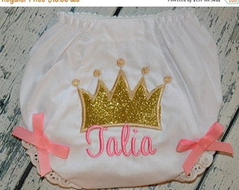 ON SALE Personalized Princess Crown Bloomers - Diaper Cover