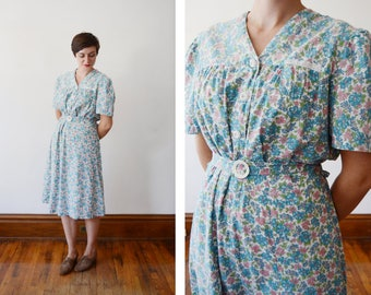 Early 1940s Floral Housedress - L