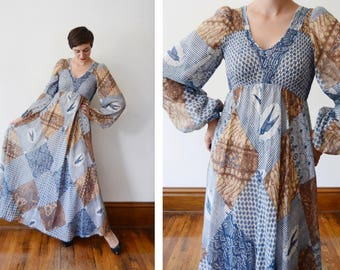 1970s Bird Print Sheer Maxi Dress - S/M